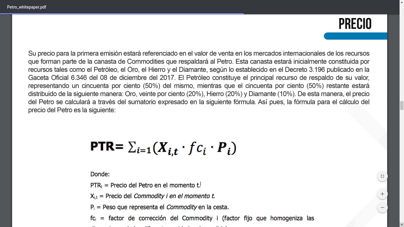 Fórmula de cálculo del valor de 1 Petro según el Whitepaper