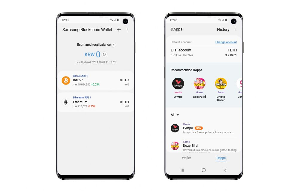Render del explorador de Dapps en la blockchain Ethereum y la Wallet de Samsung. Cortesía: Samsung