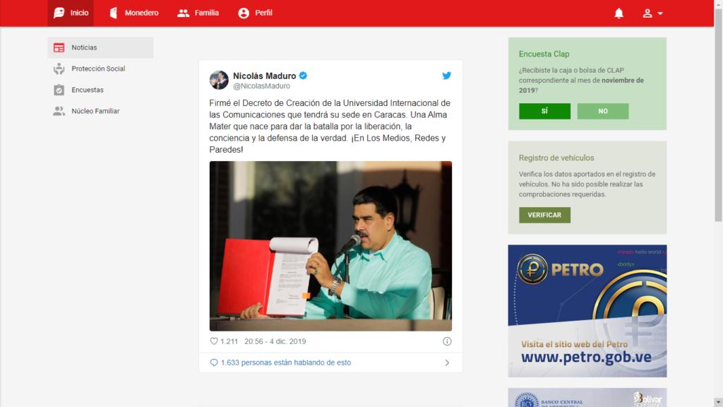 Captura de la interfaz del Sistema Patria, donde los usuarios pueden administrar su cuenta en Petro