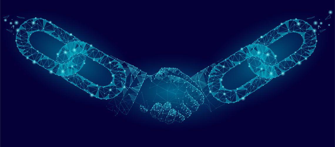 Blockchain dando la mano