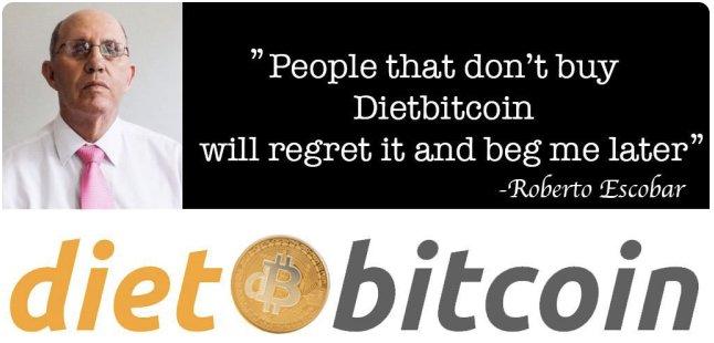 Imagen promocionando DietBitcoin. Cortesía Twitter