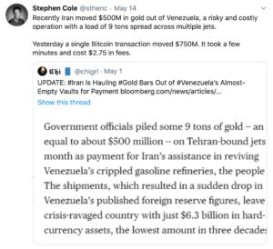 Venezuela e Iran se transfieren oro venezolano
