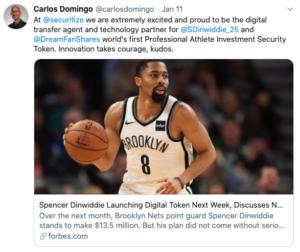 Dinwiddie lanza tokens digitales