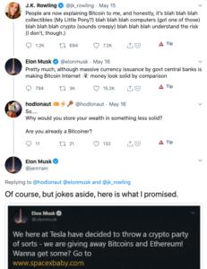 Estafa Elon Musk BTC en twitter J.K.Rowling