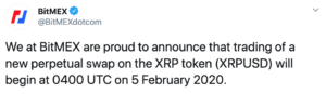 Anuncio Bitmex de listar a XRP