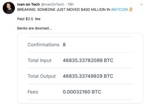 Ivan on Tech tweet sobre mega transferencia de BTC