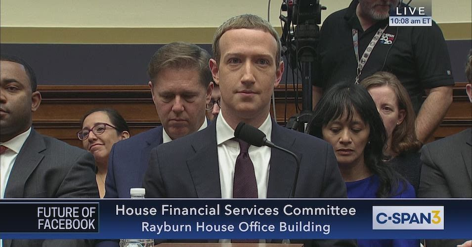 Mark Zuckerberg at a hearing before the US Congress on the Libra project