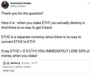 Tuit de problemas ETH 2 explicado