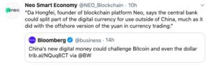 Tuit sobre CNBC Chino del CEO de Neo