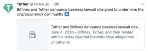 Tuit Tether rebaja la denuncia