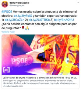 Tuit contacto con el PSOE sobre eliminación efectivo