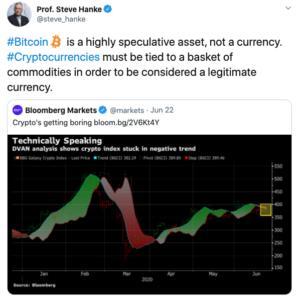 Steve Hanke Bitcoin especulación