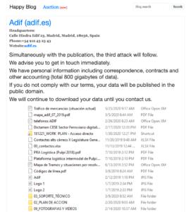 Ataque Ransomware Adif