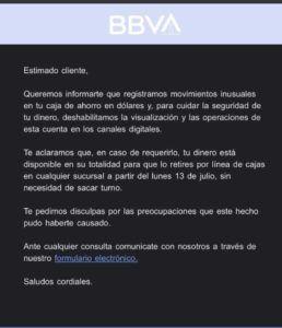 BBVA Argentina aclara bloqueo de dinero