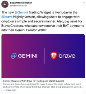 Tuit integracion widget Gemini con Brave