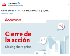 Tuit Santander perdidas