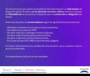Telecom comunicado sobre ransomware