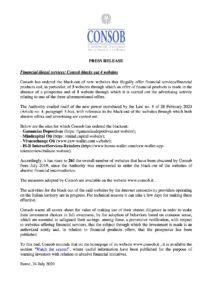 Comisión valores Italia Mind Capital