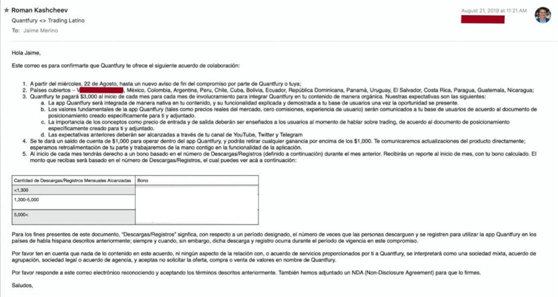 Imagen del contrato entre Quantfury y TradingLatino. Cortesía: Bitcoin sin Fronteras, Daniel Muvdi