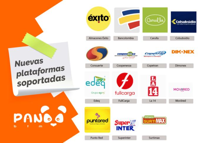 Imagen promocional con las nuevas plataformas soportadas por PandaBTM en Colombia. Imagen: PandaBTM