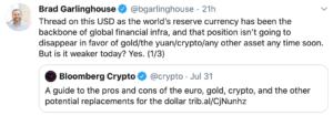 Tuit CEO Garlinghouse Twitter dólar débil
