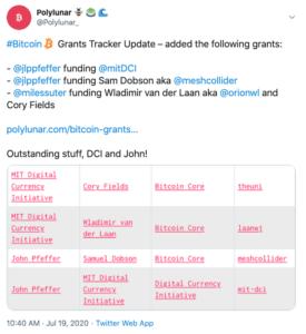 Tuit Polylunar rastreador de Bitcoin