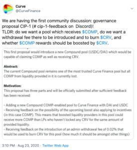 Tuit Curve Finance primer gobernanza