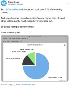 Tuit Andre Cronje votación Curve Finance