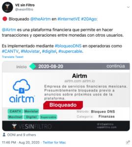 Tuit AirTm para esquivar medidas gobierno de Venezuela