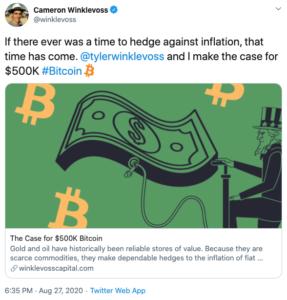 Tuit Winklevoos Bitcoin 500000 dólares