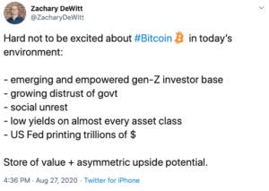 Tuit Zachary Dewitt sobre el clima perfecto para Bitcoin
