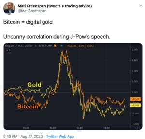 Tuit Oro versus Bitcoin