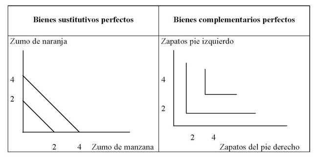 Explicación del comportamiento de bienes complementarios y sustitutivos perfectos. Imagen: Economía de Hoy