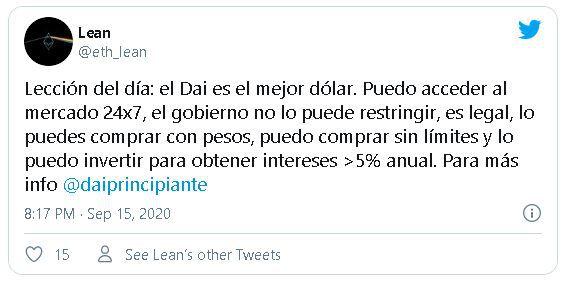 Tweet sobre la stablecoin DAI en Argentina pocas horas después del anuncio del BCRA. Fuente: @eth_lean
