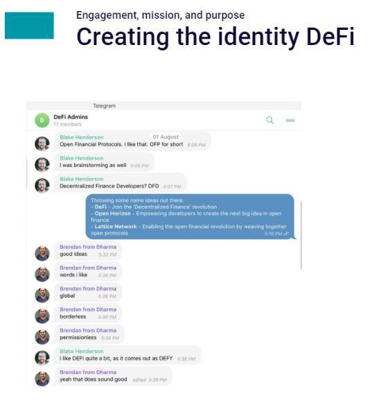 El origen del término DeFi en el chat de Telegram donde participaron los primeros desarrolladores de protocolos de finanzas descentralizadas. Imagen: Story of DeFi: How it Started, Where It Stands Now, DeFi Definition Revisited, en Medium.com