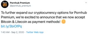 Tuit Pornhub LTC y BTC