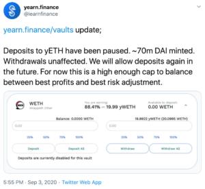 Tuit Yearn Finance sobre bajada del precio de Eth