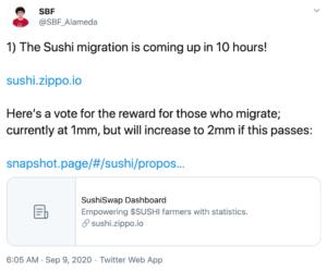 Tuit migración Sushiswap