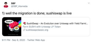 Tuit migración Sushiswap exitosa