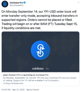 Coinbase y Yearn