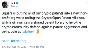 Tuit Jack Dorsey patente Square