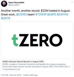 Tuit sobre record de trading de securities digitales