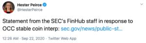 Tuit de PIerce de la SEC en respuesta a OCC