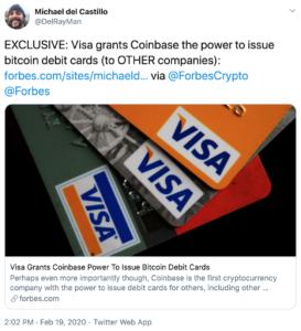 Tuit Visa y Coinbase