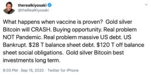 Tuit Kioyosaki Bitcoin Vacuna Covid-19