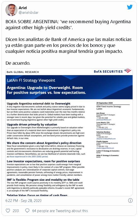Exposición de reporte de Bank of America en el tweet del inversionista Ariel Sbdar. Fuente: @arielsbdar