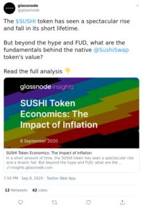 Tuit Glassnode sobre Sushiswap