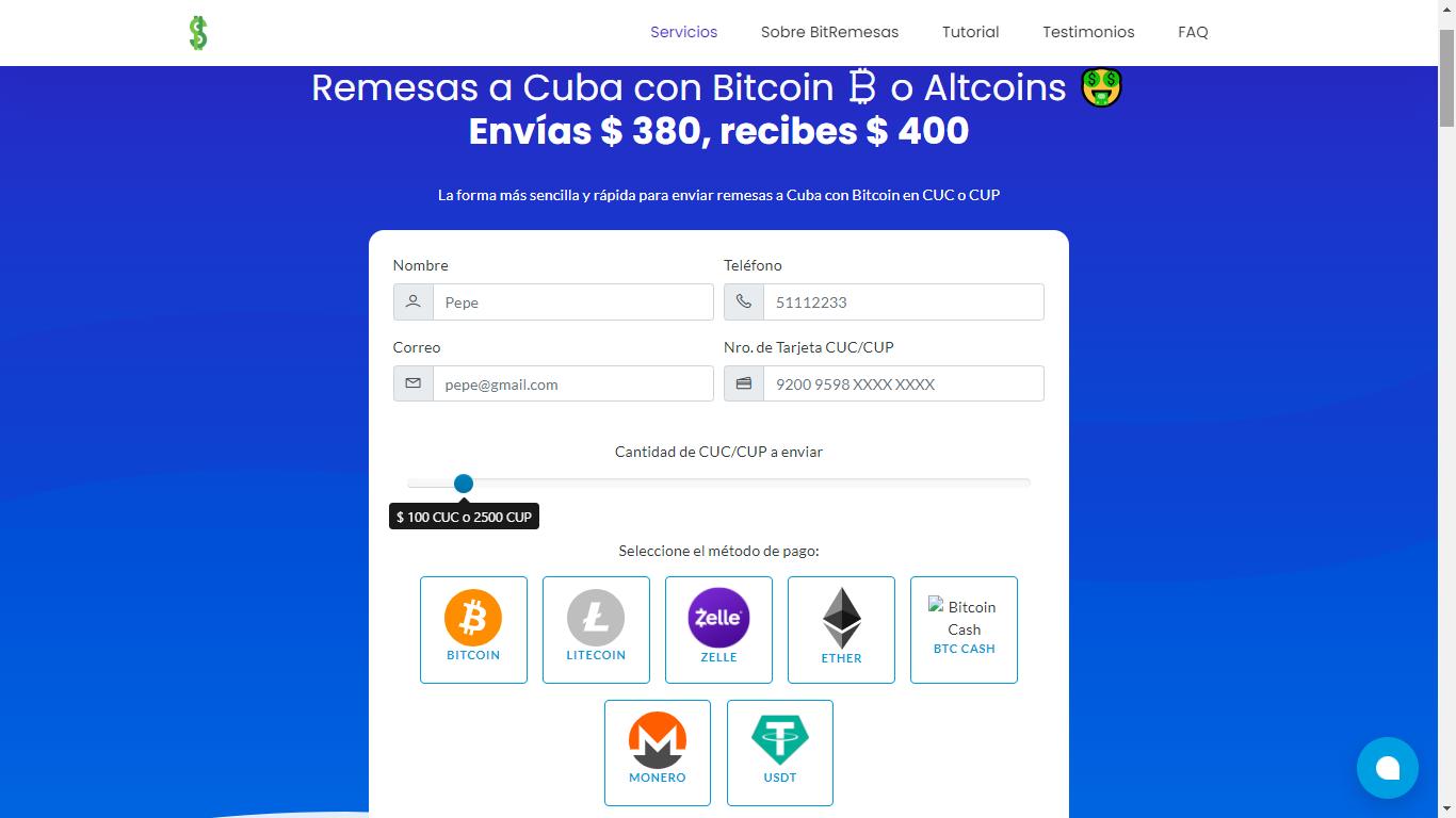 Imagen del portal Bitremesas para enviar remesas a Cuba