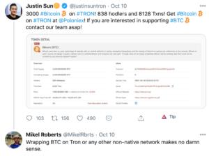 Tuit Justin Sun wrapping tron