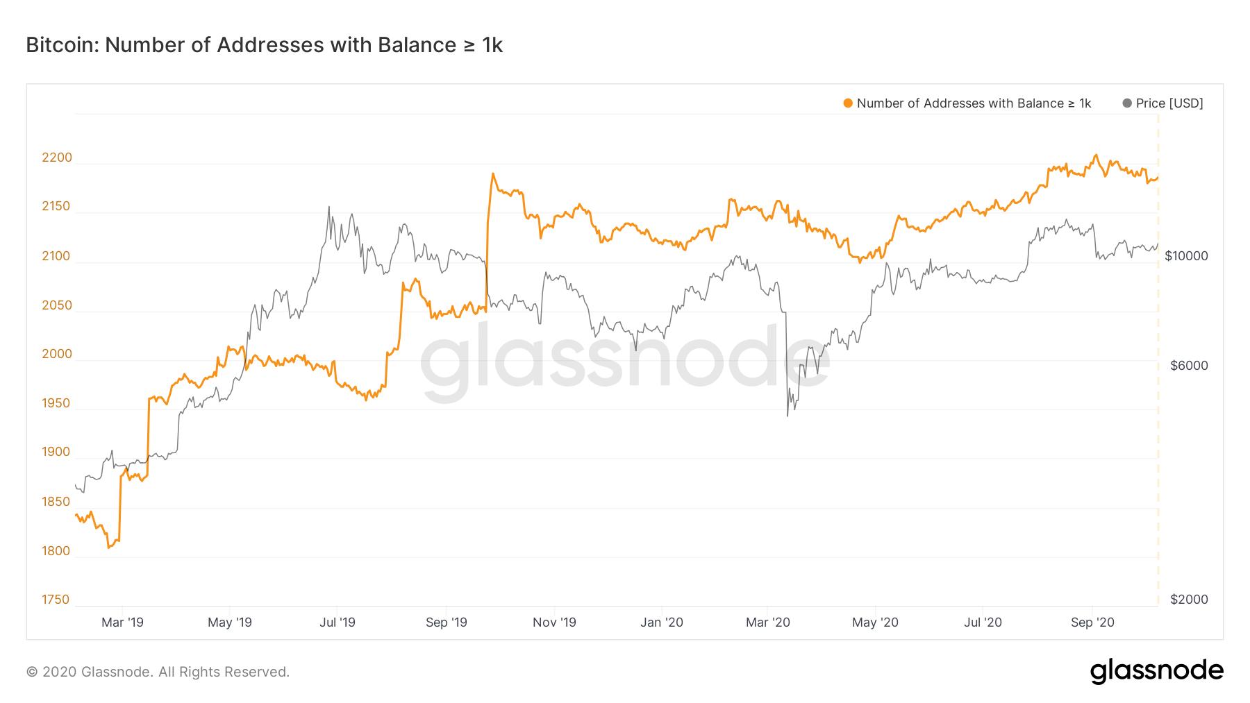 La cantidad de wallets de Bitcoin con al menos 1.000 BTC alcanzó su máximo histórico en septiembre de 2020 y sus valores se mantienen estables. Fuente: Glassnode